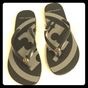 Tory Burch Black and Decal Sandals